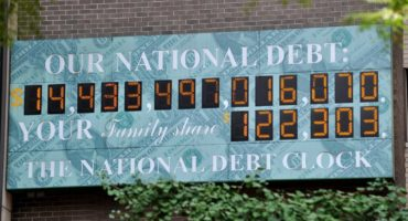 The National Debt Clock, a billboard-size digital display showing the increasing US debt, on Sixth Avenue August 1, 2011 in New York.  US Vice President Joe Biden said Monday he was confident that Congress would approve a major austerity plan to avoid a debt default as he met with skeptical members of his Democratic Party. AFP PHOTO/Stan HONDA (Photo credit should read STAN HONDA/AFP/Getty Images)
